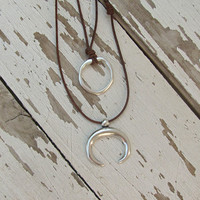 Crescent Moon Necklace, Horn Jewelry, Boho Moon, Double Pendant Necklace, Long Layered Pendant, Silver Horn Charm, Gift for Sister, Western