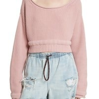 T by Alexander Wang Chunky Boatneck Crop Sweater | Nordstrom