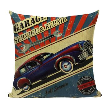 Vintage Car Garage Service Repair Pillow VC2