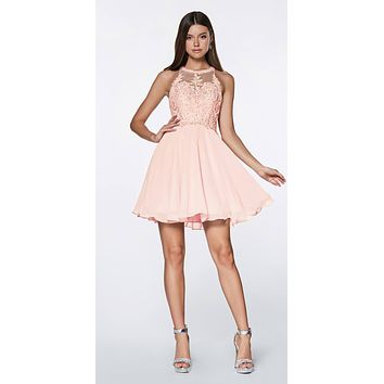 CLEARANCE - Short A-Line Dress Blush Chiffon Skirt Beaded Lace Halter Bodice (Size 2XL)