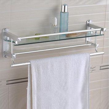 Modern Shower Bathroom Rectangle Glass Shampoo Towel Rail Shelf Wall Mount Holder Organizer