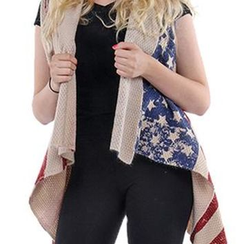 Vest Stars And Stripes American Flag Woven