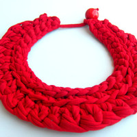 Red Crochet Necklace. Tshirt yarn necklace.