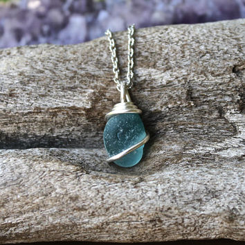 Teal Sea Glass Necklace - Blue Green Seaglass Jewelry - Beach Bridal Jewelry - Ocean Inspired Wedding Necklace - Blue Mermaid Tears Necklace