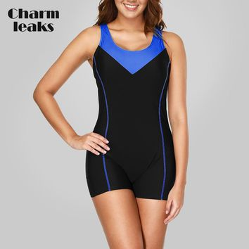 Charmleaks One Piece Women Sports Swimwear Sports Swimsuit Patchwork Competition Swimwear Open Back Boyshort Bathing Suits