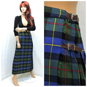 Vintage 60s English wool kilt S 1960s fringed green plaid tartan skirt wool maxi skirt vintage Courtaulds long kilt SunnybohoVintage