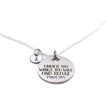 Under His Wings You Will Find Refuge Necklace, Psalm 91:4 Necklace, Religious Necklace, Cross Necklace, Christian Necklace, Bible Verse