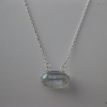 Clear magic Bean glass silver plated necklace