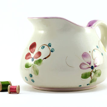 Vintage Floral Pitcher  Cottage Chic  by TimelessFindsVintage