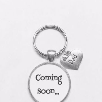 Coming Soon Dad Gift For New Father To Be Baby Shower Keychain