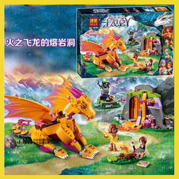 10503 Bela Elves Azari The Magical Bakery Fire dragon Building Blocks Minifigures Girls Princess Fairy compatiable with lego