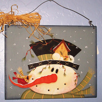 Snowman with Bird House Sign - Holiday Decor Christmas