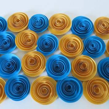 "Blue and Gold Paper Flower set, package of 25, Wedding decorations, 1.5"" roses for table centerpiece, Fancy bridal shower decor"
