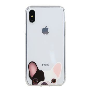 Arunners Animal Pet Dog iPhone X Case Cover Crystal Paint French Bulldog Design Clear Cute Kawayi Unique Funny Phone Cases Skin for iPhone 5.8 inch - Amber