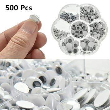 500 Pcs Wiggly Googly Eyes Plastic Moveable Black Joggle Scrapbooking Hand Craft