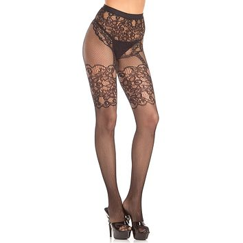 Crotch-less Fishnet and Lace Design Pantyhose
