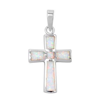 """Sterling Silver Lab White Opal Cross Pendant 25MM (Free 18"""" Chain)"""