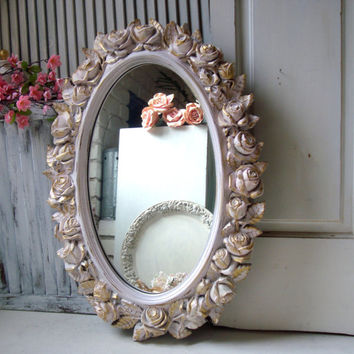 Pink Vintage Rose Mirror, Oval HOMCO Floral Ornate Mirror, Large Mirror, Shabby Chic Pink Nursery Mirror, Pink and Gold Ornate Mirror
