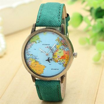 Quartz World Map Rotating Plane - 7 Colors