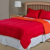 Reversible Mini Bed Set - 2 Piece - Tango Red / Mandarin Red - Twin Size