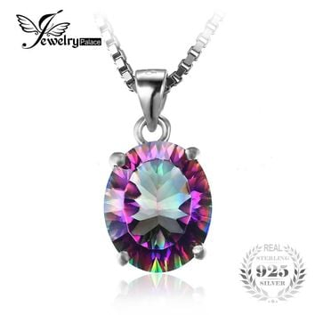 JewelryPalace 3.5ct Genuine Rainbow Fire Mystic Topaz Concave Oval Pendant Solid 925 Sterling Silver Without the Chain