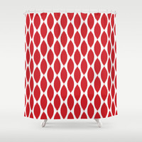 Shower Curtain - Red Ikat Petals - Red and White - Housewarming Gift - Glamour Decor - Bathroom Shower Curtain - Teen Room Decor
