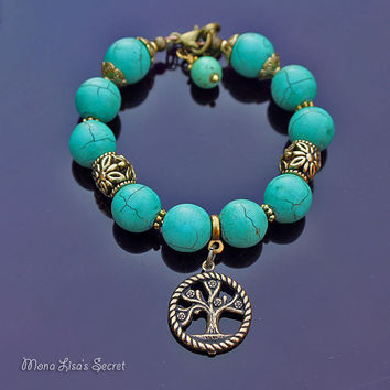 Turquoise Tree of Life Bracelet, Memory Wire Bracelet, Turquoise Howlite Stone Bracelet, Turquoise Jewelry, Mother's Day Gift