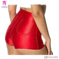 Yomsong  Women American Stretched Women Apparel High Waist Shorts Disco Slimming Neon Solid Color Fashion Shorts 132