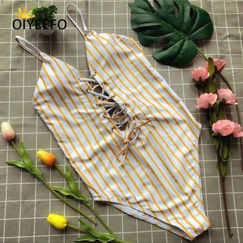 One Piece Bathing Suit Oiyeefo Halter Lace-up Swimsuit Yellow Striped  Bathing Suits Women Bathers Monokini Sexy Swim Suit May Swimwear Female KO_9_1