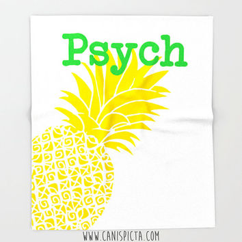 Psych Blanket Pineapple Fleece Throw Home Decor TV Show Minimalist Decorative Fandom Psych-O Television Gift Fan Neon Yellow Green White Art