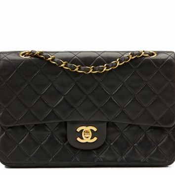 CHANEL BLACK QUILTED 2.55 LAMBSKIN SMALL CLASSIC DOUBLE FLAP BAG GHW Z7
