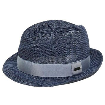 NOV9O2 Lanvin Boys Faux Straw Fedora Hat