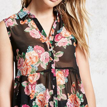 Semi-Sheer Floral Shirt
