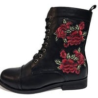 Rose Embroidered Combat Boot