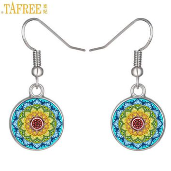 TAFREE colorful lotus flower dangle earrings jewelry women buddhist yoga mandala meditation glass cabochon drop earrings CT361