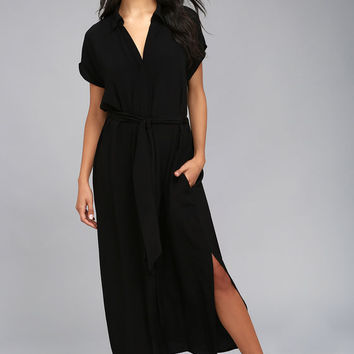 Destination Chic Black Midi Dress