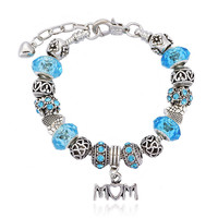 Mothers Day Gift Crystal Accessory Stylish Blue Pandora Style Bracelet [10893371279]