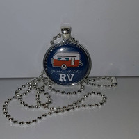"Queen of the RV 1"" Pendant Necklace or Keychain free shipping travelers necklace RV necklace travelers keychain RV keychain motor home neckl"