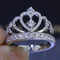 Women Crown ring Handmade 1.5ct AAAAA zircon cz 925 Sterling silver Engagement Wedding Band Ring for women Gift