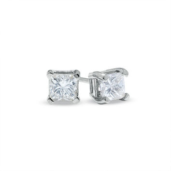 1/2 CT. T.W. Princess-Cut Diamond Solitaire Stud Earrings in 14K White Gold