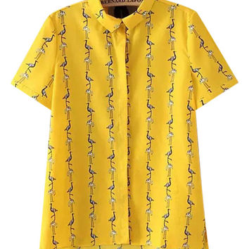 Yellow Flamingo Print Blouse with Collar