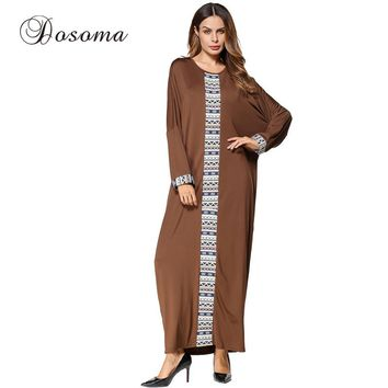 Casual Muslim Women's Maxi Dress Ethnic Middle East Long Robe Gowns Turkish Jilbab Ramadan Arab Dubai Islamic Prayer Clothing