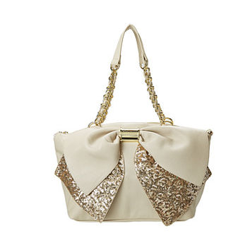 Betsey Johnson Bow-Nanza Satchel Cream/Gold - Zappos.com Free Shipping BOTH Ways