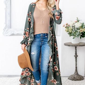 Olive Fall Floral Long Sleeve Kimono With Clasp
