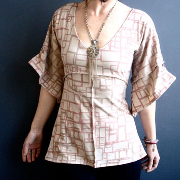 Volver a Casa - iheartfink Handmade Hand Printed Womens Deep Plunge V Neckline Pale Earth Tones Geometric Art Print Bell Sleeves Jersey Top