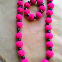 wool felt beaded necklace with bracelet fuchsia pink with flower eco natural