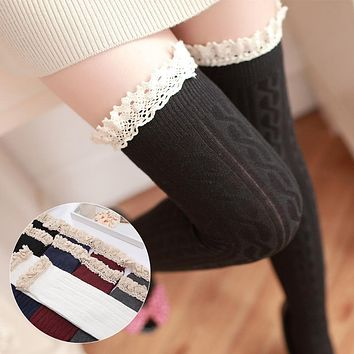 Cute Twist Pattern Cotton Thigh High Stockings Lace Trimmed Warm Stockings 5 Colors