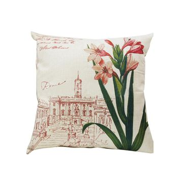 Small Fresh Fruit Flowers Linen Sofa Cushion Pillow On The Pillow