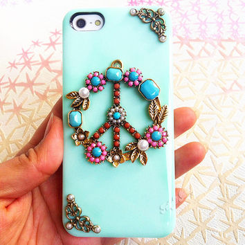 Handmade  Peace Sign  Candy Color Case For iPhone
