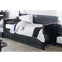 Twin size Black Wood Daybed with Pull-out Trundle Bed